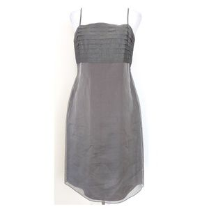 ANN TAYLOR  Gray Silk Sheath Dress 8